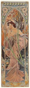Фото  Alphonse Mucha Evening Reverie (Left Hand) 3-Tile Set