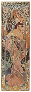 Фото  Alphonse Mucha Evening Reverie (Right Hand) 3-Tile Set