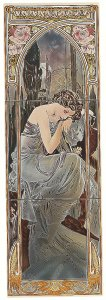 Фото  Alphonse Mucha Nocturnal Slumber (Left Hand) 3-Tile Set