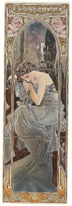 Фото  Alphonse Mucha Nocturnal Slumber (Right Hand) 3-Tile Set