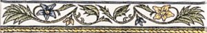 Фото  Floral Rope Border Blue & Yellow On Colonial White