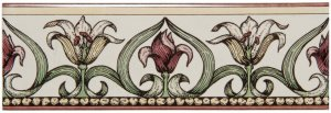 Фото  Art Nouveau Lily Border Green On Colonial White