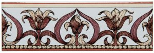 Фото  Art Nouveau Lily Border Pink On Brilliant White