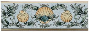 Фото  Scallop Shells Border Blue & Yellow on Brilliant White