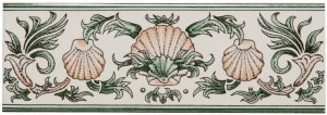 Фото  Scallop Shells Border Green & Buff On Colonial White