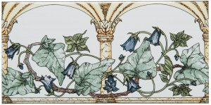 Фото  Arch And Ivy Border Blue On Brilliant White