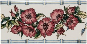Фото  Corded Poppies Border Red On Colonial White